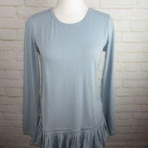 LOGO Blouse Ruffle Comfortable Fall Shirt Peplum